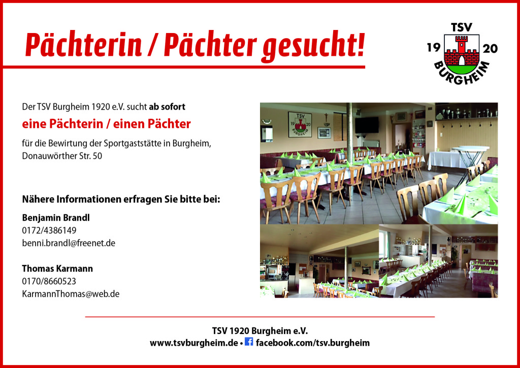 Photo of Pächter für unser Sportheim gesucht