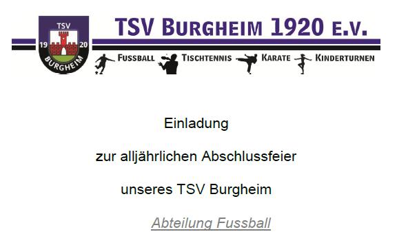 Photo of Einladung  zur alljährlichen Abschlussfeier  unseres TSV Burgheim – Abteilung Fussball