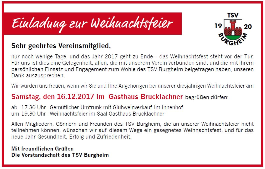 Photo of Große TSV Weihnachtsfeier am 16.12. mit Glühweinempfang ab 17:30 Uhr